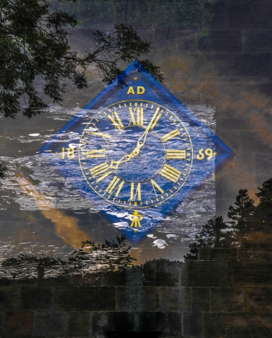 Double exposure - clock and river